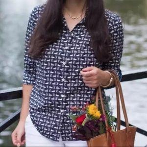 Talbots Swan Print Shirt Blouse Navy Pink Size 12